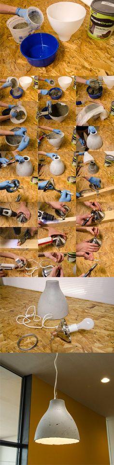 Ikea Hack DIY Concrete Pendant Lamp - curbly.com -Lámpara de hormigón con ikeahack