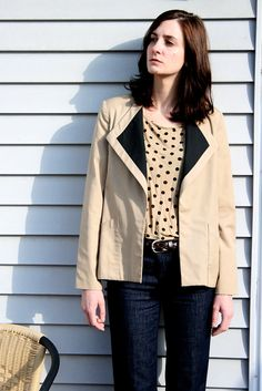 Vintage Tan and Black Collar Blazer Jacket by RetroNorth on Etsy, $29.00