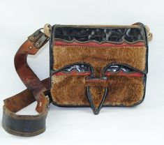 Cracks/wear to leather strap and some scuffs/scratches/wear to leather apparent. Vintage Bags, Vintage Accessories, Vintage Leather, Messenger Bag, Satchel, Fur, Shoulder Bag, Purses, Ebay