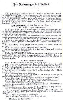 Beautiful Forderungen des Volkes Badische Revolution
