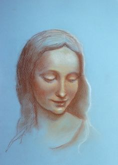 """Pastel """"Portrait a la Leonardo"""" - learning from old masters by Florina Ravariu. Pastel Portraits, Ancient Jewelry, Old Master, Art Studies, Graphite, Colored Pencils, Jewelry Art, Masters, A4"""