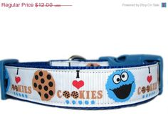 ON SALE Cookie Monster Dog Collar 1 inch wide by Apolloscloset, $10.20