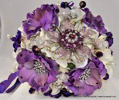 Bridesmaid bouquet: Purple Anemones and Brooches