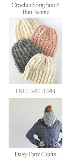 This is a free pattern for a crochet sprig stitch bun beanie. After many tweaks and trials, I'm excited to share this hat pattern. I'd rate this advanced beginner as there are no rounds to join and it ends up easily enough with a hair tie. Bonnet Crochet, Crochet Beanie, Knitted Hats, Crochet Hat For Ponytail, Ponytail Hat Knitting Pattern, Baby Knitting, Knit Or Crochet, Crochet Crafts, Crochet Projects