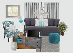"""Gray and Teal Living Room"" by jurzychic on Polyvore! I'm obsessed with these colors, and grey and yellow!"