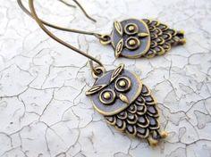 Owl earrings owl jewelry -