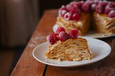 Poires au Chocolat: Dusky Caramel and Raspberry Crêpe Cake    MmmmJust looking at this I've gained 10 pounds.... Time intense to prepare