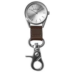 Dakota Watch Company Classic Dress Clip Watch with Silver Case/Leather Fob. 100 feet water resistant. Genuine leather fob. Alloy case and bruised alloy lobster clasp. Japanese quartz movement. Stainless steel case back.
