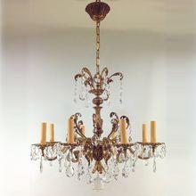 Vintage Czechoslovakia Gilt Crystal Chandelier - 8 Lights