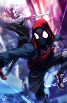 Something Marvel? - Spider-Man & Spider-Woman by Christian Dave. Spider Art, Spider Gwen, Spider Verse, Black Spider, Comic Books Art, Comic Art, Siper Man, Miles Morales Spiderman, Marvel Drawings