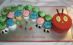 The Very Hungry Caterpillar Cake and Cupcakes by Simply Gorgeous Cakes by Jo, Longfield, United Kingdom. You'll find this Cake Appreciation Society Member in our Directory at www.cakeappreciationsociety.com