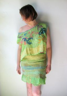 Nuno Felted Pure Silk Top with Reversible Wrap Skirt  by realfaery