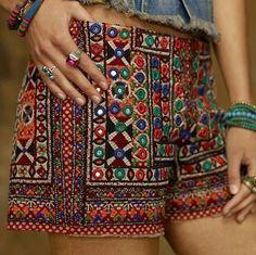 Embroidered Boho Shorts