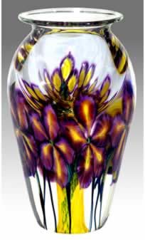 David Lotton | Clematis Series | Cylinder Shape Vase with lip | purple & yellow background