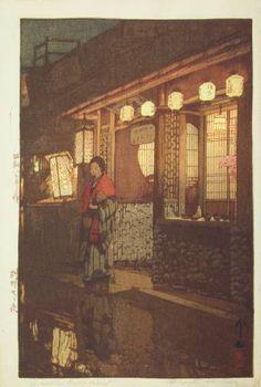 'A Little Restaurant' by Hiroshi YOSHIDA (Woodblock, 1933) #art #woodblock