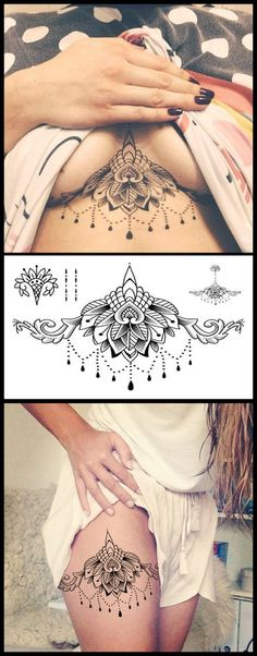 Boho Lotus Sternum Tattoo Ideas for Women - Flower Large Black Thigh Tatouage - www.MyBodiArt.com