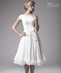 Cute modest tea length wedding dress.