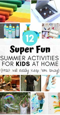 12 Super Fun Summer Activities for Kids at Home (that will really keep 'em busy As a parent, summer time can be a challenge. Whether you're a stay-at-home or working parent, the re Home Activities, Summer Activities For Kids, Indoor Activities, Science For Kids, Educational Activities, Summer Kids, Toddler Activities, Learning Activities, Kids Fun