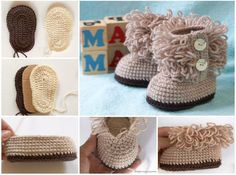 Crochet Ugg Boot Booties-Free Pattern