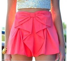 Very, very, cute skirt shorts. If the color is not to terrific, the bow tops the cake. I really do love em !!!