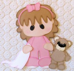 TPHH - Girl Pajamas Bedtime Blankie & Bear Paper Piecing for Scrapbook Pages Baby Scrapbook, Scrapbook Paper Crafts, Paper Piecing Patterns, Scrapbook Embellishments, Foam Crafts, Baby Cards, Lol Dolls, Paper Dolls, Crafts For Kids