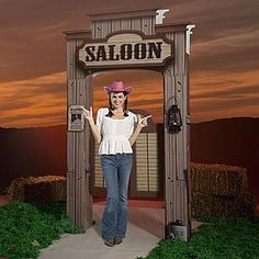 A western saloon entrance is the stage front you'll need for your western play. Decorate for a cowboy brawl or sing along with a western saloon entrance.