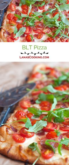 This BLT Pizza is a thin, crisp pizza crust topped with garlicky Alfredo sauce, mozzarella, grape tomatoes, bacon, and arugula. From @NevrEnoughThyme http://www.lanascooking.com/blt-pizza/