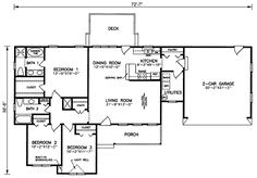 First Floor Plan of Ranch   Traditional   House Plan 45210