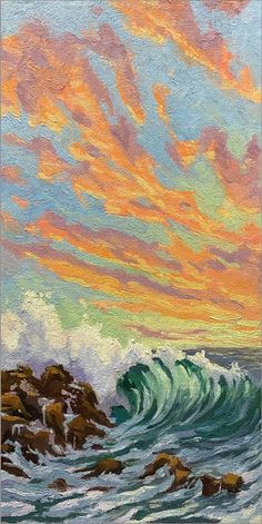 "Sunset colors on crashing wave in La Jolla, California. 12""x6"" original oil on canvas board. Jim@JimMcConlogue.com for more information. Crashing Waves, Sunset Colors, Canvas Board, Frame Shop, Pacific Ocean, Limited Edition Prints, Unique Colors, Oil On Canvas, Fine Art"