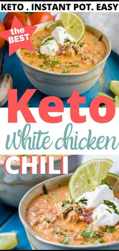 Creamy keto white chicken chili made with tender chicken thighs, cauliflower rice and a spicy, creamy broth. This beanless white chili is a hearty bowl of comfort on a cold Fall or Winter day. Options to cook in the Instant Pot, slow cooker and stove top. Keto Chili Recipe, Chili Recipes, Soup Recipes, Chicken Recipes, Low Carb Chicken Chili Recipe, Keto Chicken Soup, Ketogenic Recipes, Low Carb Recipes, Cooking Recipes