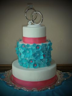 Turquoise And Pink Wedding Cupcake Tower By Www Jellycake Co Uk Cakes Pinterest Cupcakes