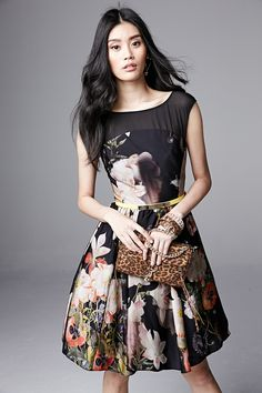 Ted Baker London Opulent Bloom-Print Fit-and-Flare Dress