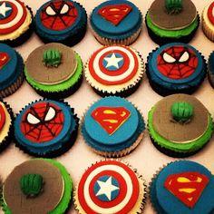 Superhero Cupcakes Boys Birthdays Spider-Man, Superman, Captain America and the Incredible Hulk