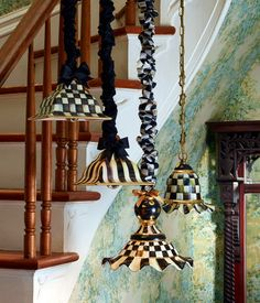Courtly Check hanging lamps in several shapes and sizes.but what about the lamp cord cover! So beautiful! Decor, Whimsical Painted Furniture, Mckenzie And Childs, Courtly Check, Lamp, Light, Lamp Cord, Lights, Funky Painted Furniture