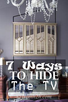 7 Ways To Hide The TV | Are you someone who doesn't like to see the TV in a room?  Or maybe just wants some tips on how to camouflage it?  This post will show you 7 different ways you can use.