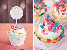 Rainbow Rock Candy Cupcakes