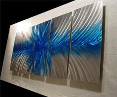 Metal Wall Art Modern Painting Decor Abstract Sculpture Deco Explosion in Blue   eBay
