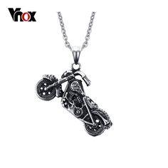 Vnox hombres ghost rider punk rock collar de colgantes de los collares de acero inoxidable de la manera de la motocicleta hombres vnox joyería