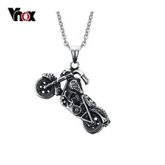 Vnox Hommes Ghost Rider de Rock Punk Colliers Pendentifs Mode En Acier Inoxydable Moto Collier Hommes Vnox Bijoux