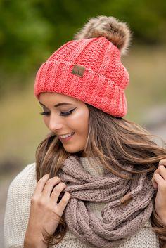 CC Knit Blanket Lined Fur Pom Pom Beanie (Coral) - NanaMacs.com - 2