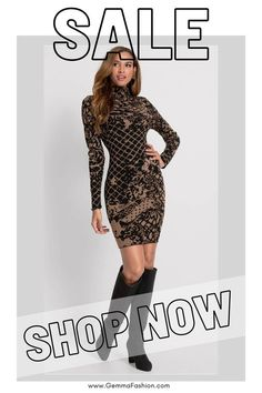 😍 BODYCON SWEATER DRESS Flaunt your sexy style in this mock neck mini sweater dress. Smooth fitting from neck to hem, this long-sleeved bodycon inspires confidence that shows. Finish the sexy style with block heeled booties and add a denim jacket for another layer to complete this nighttime look. #Fashion #Fashionista #sweaterdress #outfit #minidress #womenswear #womensclothing #clothing #clothes #shoppingonline #chic #apparel #shopping #dresstoimpress