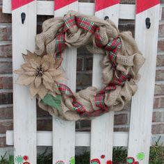 Burlap Christmas Wreath  Christmas Wreath  by BackRoadsFaith, $38.00