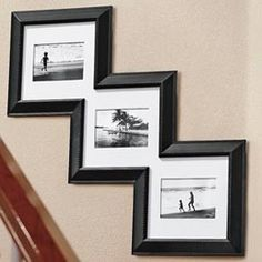 Cool, I like this idea - keeps stairway pictures aligned. Stairway Pictures, Photo Displays, My Dream Home, Stairways, Home Projects, Custom Framing, Home Staging, Picture Frames, Tv Frames