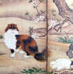 松に麝香猫図屏風 Matsu ni jakoneko zu byôbu (Civets, Pine Tree, Birds, and Flowers) (detail), attributed to Kano Utanosuke, 16th C.