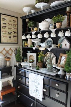 styling the top of a buffet and hutch - Google Search