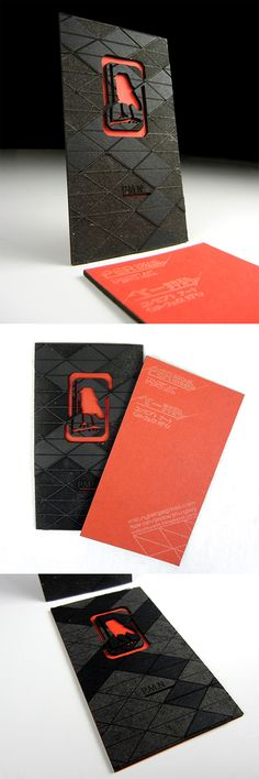 Amazing Laser Cut And Engraved Layered Black And Red Business Card Design