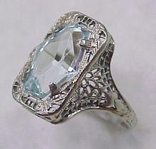 Art Deco 3.0 Carat Fancy Cut AQUAMARINE Ring 14k WG Filigree