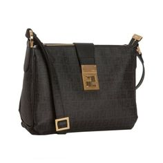 Fendi Tobacco Zucchino Spalmati Clasp Detail Shoulder Bag Black 8bt193 4082bca91f82a
