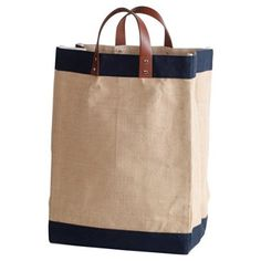 """Check out this item at One Kings Lane! 18"""" Jute Market Bag, Navy"""