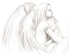 Guardian Angel Drawings and Sketches | guardian-angel-cuddling-baby